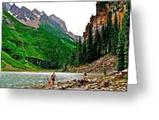 Far End Of Lake Louise In Banff Np-alberta Greeting Card