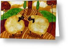 Farm Animals Countryside Sheep Italian Whimsical Folk Debi Hubbs Children Art Greeting Card
