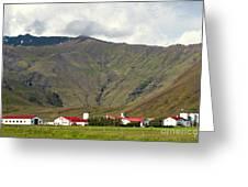 Farm At Eyjafjallajokull Glacier. Greeting Card