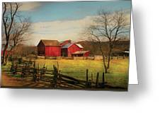 Farm - Barn - Just Up The Path Greeting Card