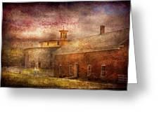 Farm - Barn - Shaker Barn  Greeting Card by Mike Savad