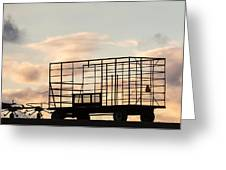 Farm Equipment At Sunset Greeting Card