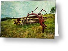 Farm Equipment In A Field Greeting Card by Amy Cicconi