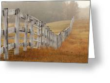 Farm Fence On Foggy Autumn Day Greeting Card