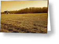 Farm Field With Old Barn In Sepia Greeting Card