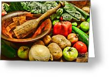 Farm Fresh Food In A Country Kitchen Greeting Card
