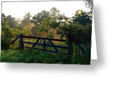 Farm Gate In Morning Light Greeting Card