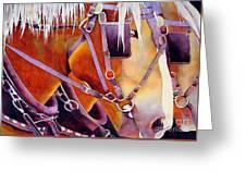 Farm Horses Greeting Card by Robert Hooper