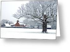 Farm House And Oak Tree Greeting Card