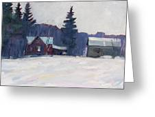 Farm In The Snow Greeting Card