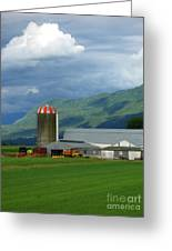 Farm In The Valley Greeting Card