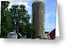 Farm - John Deere Tractor And Silos Greeting Card