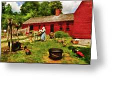 Farm - Laundry - Old School Laundry Greeting Card by Mike Savad