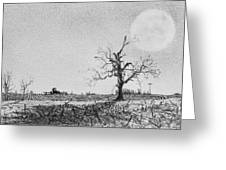 Farm Machinery At Moonlight Greeting Card