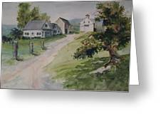 Farm On Orchard Hill Greeting Card