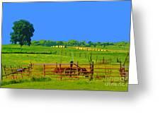 Farm Photo Digital Paint Style Greeting Card