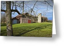 Farm Scene With Barns And Silo Greeting Card