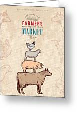 Farm Shop Vintage Poster Retro Butcher Greeting Card
