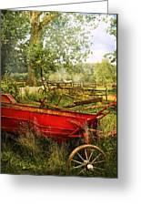 Farm - Tool - A Rusty Old Wagon Greeting Card by Mike Savad