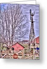 Farm - Windmill - Red Barn Farm - Missouri Greeting Card