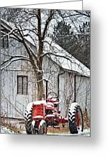 Farmall Tractor In Winter Greeting Card by Timothy Flanigan