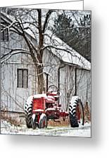 Farmall Tractor In Winter Greeting Card
