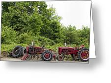 Farmall Tractors All In A Row Greeting Card