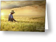 Farmer Checking His Crop Of Wheat  Greeting Card