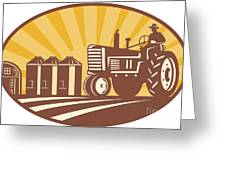 Farmer Driving Vintage Tractor Retro Woodcut Greeting Card
