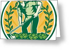 Farmer Gardener With Garden Hoe Cabbage Greeting Card by Aloysius Patrimonio