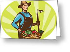 Farmer With Garden Hoe And Basket Crop Harvest Greeting Card