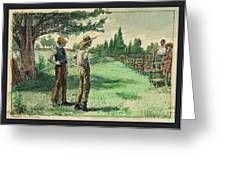 Farmers In Pasture With Trees 1885 Hand Tinted Etching  Greeting Card
