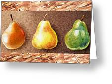 Farmers Market Drive Through Red Yellow And Green Pear Greeting Card