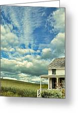 Farmhouse By Cornfield Greeting Card