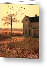 Farmhouse By Tree Greeting Card