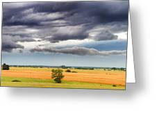 Farmhouse In The Storm Panorama Greeting Card