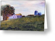 Farmhouse On The Hill Greeting Card