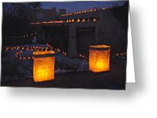 Farolitos Or Luminaria On Wall Greeting Card