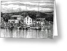 Farsund Dock Scene Pen And Ink Greeting Card
