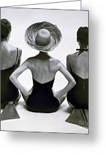 Fashion Models In Swim Suits, 1950 Greeting Card