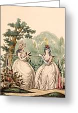 Fashion Plate Of Ladies In Summer Day Greeting Card