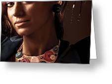 Fashionable Woman Portrait Greeting Card