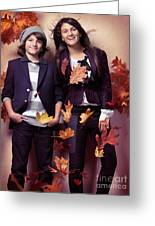 Fashionably Dressed Boy And Teenage Girl Fall Fashion Greeting Card