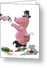 Fat British Bank Pig Getting Government Handout Greeting Card by Martin Davey
