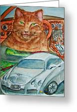 Fat Cat And The Bentley Greeting Card