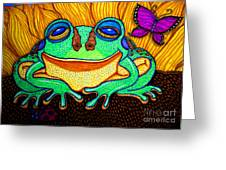 Fat Green Frog On A Sunflower Greeting Card