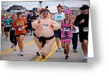 Fat Lady Ghost Goblin 5k Runners In Costumes Greeting Card