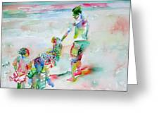 Father And Children Greeting Card