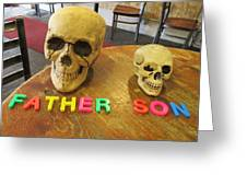 Father And Son - Toy Skulls At The Cafe Greeting Card