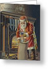 Father Christmas Filling Children's Stockings Greeting Card